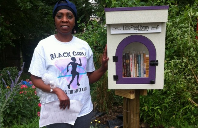 Cheryl with Little Free Library