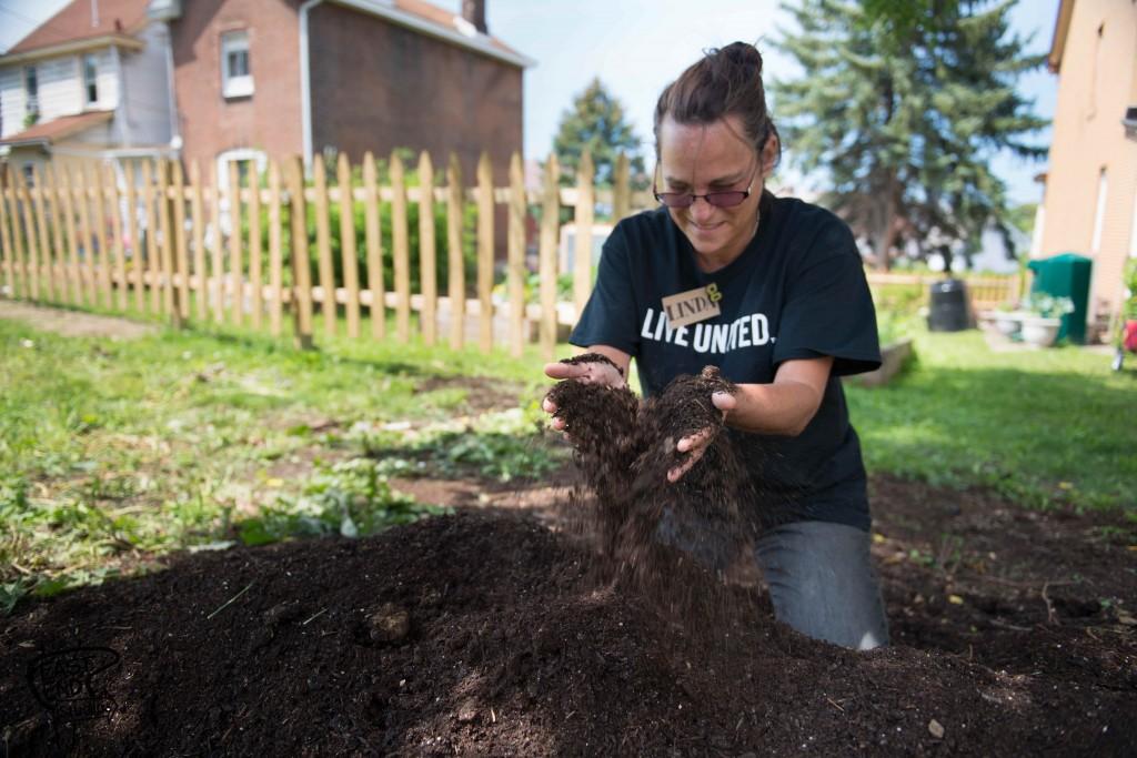 Linda Piso in her garden
