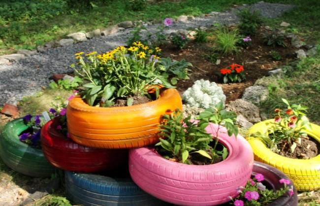 Beautiful Tire Planters